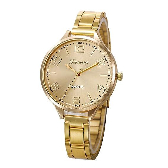 4f90acb88d1d DressLksnf Reloj Lujo Moda de Mujer Pulsera Deportiva Banda de Reloj Cadena  Ajuste Elegante Aguja Dorada