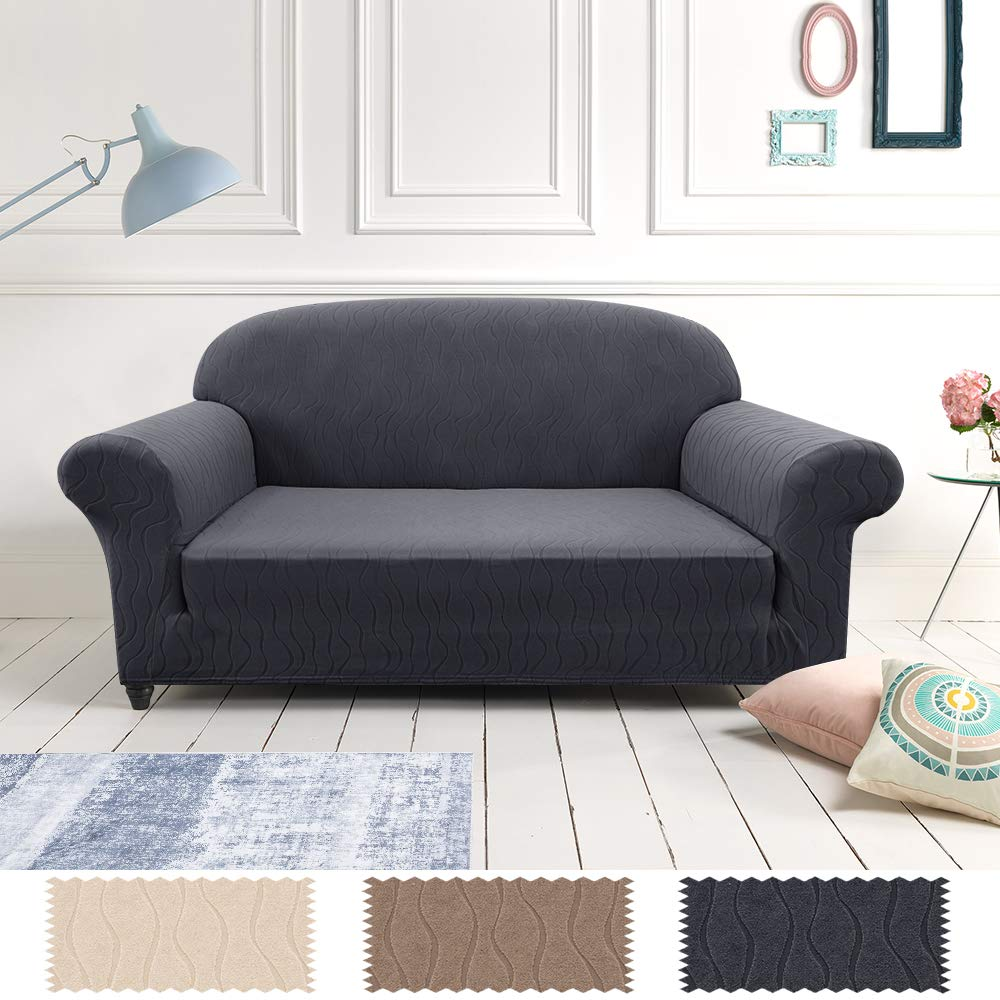 Lazzzy Sofa Slipcover Loveseat Cover Grey Spandex Sofa Protector for 2 Cushion Couch 2 Seats Fitted Jacquard Fabric One Piece Dark Gray