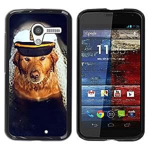 YiPhone /// Prima de resorte delgada de la cubierta del caso de Shell Armor - Golden Retriever Captain Dog Sea Boat - Motorola Moto X 1 1st GEN I XT1058 XT1053 XT1052 XT1056 XT1060 XT1055