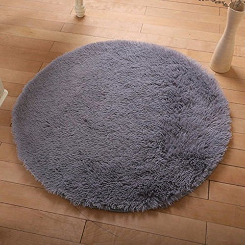 DODOING Gray Modern Shag Area Rugs Living Room Carpet Bedroom Rug for Children Play Solid Home Decorator Floor Rug and Carpets,Diameter 40cm/15.7inch