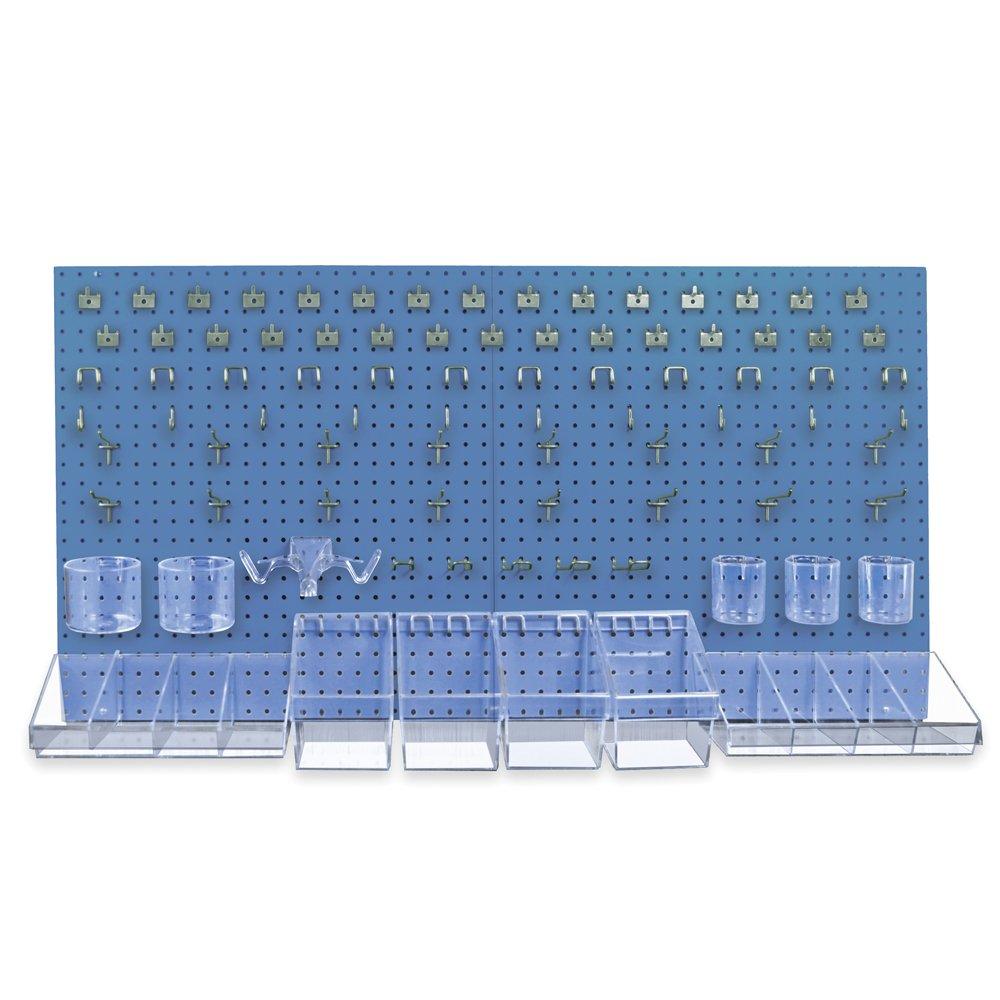 "CDM product Azar Displays 900988-BLU 48"" x 24"" (High Density Fiberboard) Pegboard Organizer Kit in Blue big image"