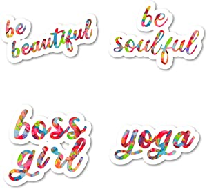 Be Soulful Be Beautiful Yoga Boss Girl Sticker Pack Watercolor Stickers - 4 Pack - Laptop Stickers - for Laptop, Phone, Tablet Vinyl Decal Sticker (4 Pack) S211204