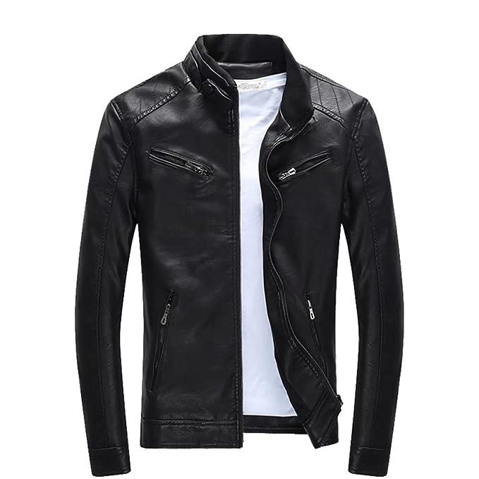 Mens chaquetas de cuero pu Slim Fit inteligente Fleece Coat Chaqueta harrington: Amazon.es: Ropa y accesorios