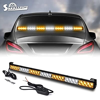 SMALLFATW 32 Inch 13 Modes Traffic Advisor Emergency Signal Light Led Strobe Light Bar Vehicles/Pick up/Trucks Rear Window Flash Directional Warning Light Bar (Amber/White): Automotive