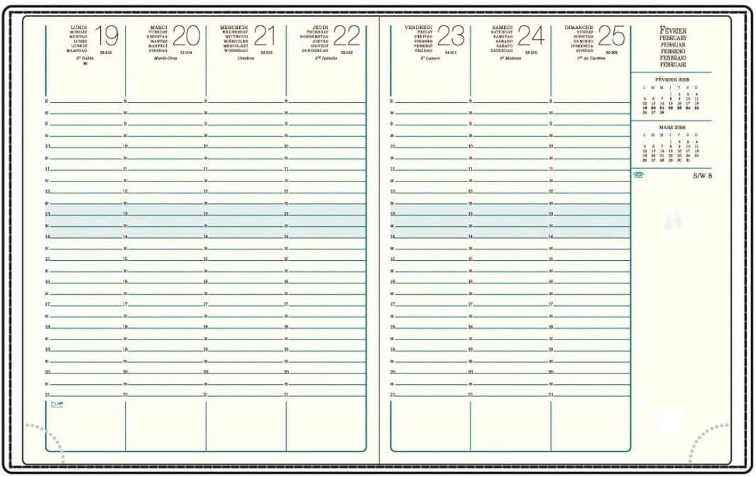 Reliure Cousue et Atlas 1 Recharge Agenda Semainier A27-21 x 27 cm Agenda Mignon Ann/ée 2021