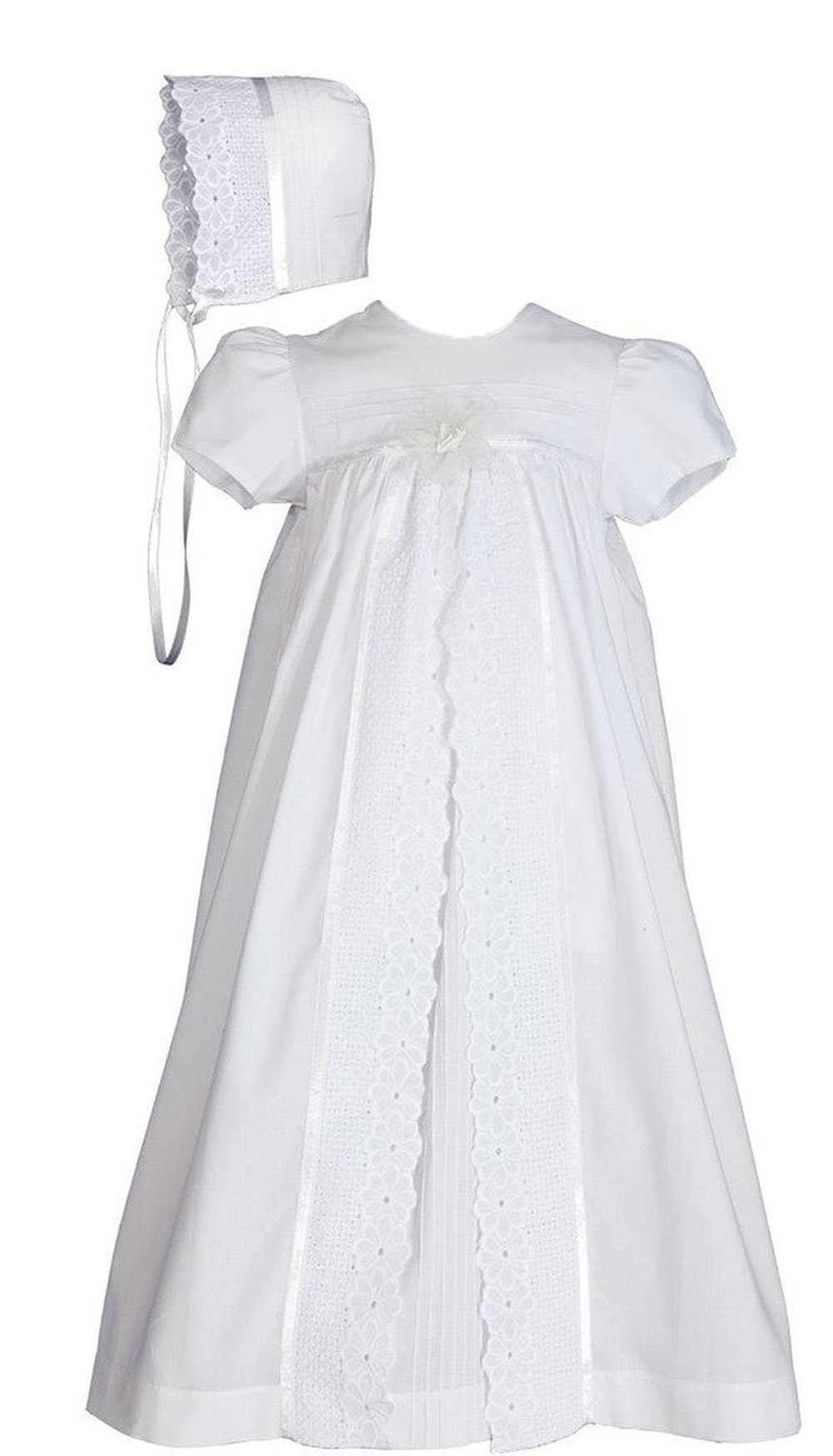 25'' Girls Split Panel Cotton Dress Christening Gown Baptism Gown 12M