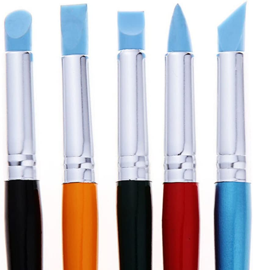 Bao Core Artist Paint Brush Set-5pcs Professional Silicon Brushes Blender for Painting, Masking Fluid,Clay Molding (5pcs Silicon Paintbrush#Blue)