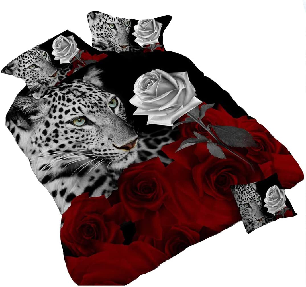 Heave 4Piece Leopard White and Red Rose 3d Bedding Set Floral Prints Duvet Cover Double Size Comforter Cover Set