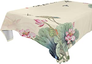 xigua Chinese Watercolor Style Lotus Rectangle Tablecloth 60