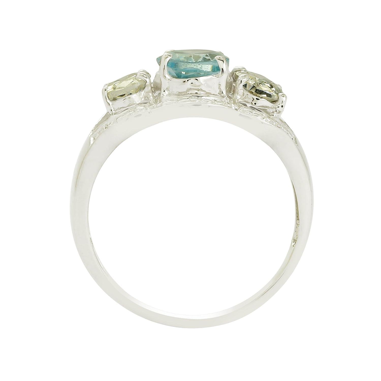 925 Sterling Silver Blue Topaz /& Natural Zircon Statement Wedding Ring