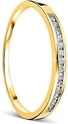 Orovi anillo de mujer compromiso/aniversario 0.10 Quilates ...