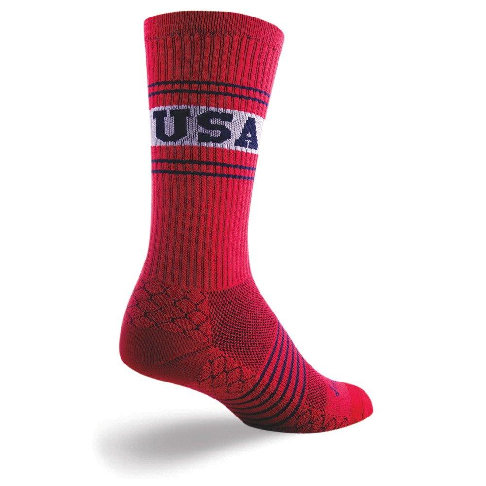 SockGuy Crew 8in Team USA Cycling/Running Socks (Team USA - L/XL)