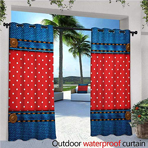 homehot Polka Dots Indoor/Outdoor Single Panel Print Window Curtain Jeans Pockets Frame Print with Little Polka Dots Traditional European Art Design Silver Grommet Top Drape W108 x L96 Blue Red