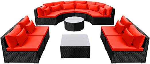 Festnight Salons de jardín Mobiliario de jardín Polietileno ratán Rojo 8 sofá, 3 Mesa Baja 10 Almohadas, 20 Cojines: Amazon.es: Hogar