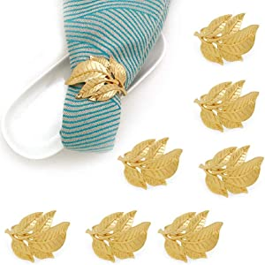 Congis Gold Napkin Rings Set of 8, Antique Gold Alloy Fall Leaf Metal Napkin Ring for Thanksgiving, Christmas, Dinner Table Decor, Vintage Wedding Party, Gift Giving