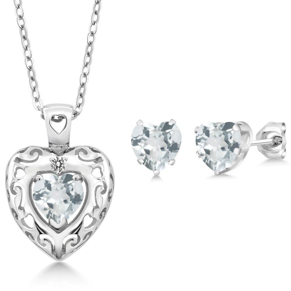 2.03 Ct Sky Blue Aquamarine White Diamond 925 Sterling Silver Pendant Earrings Set