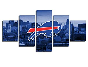 Buffalo Bills Wall Decor Art Paintings 5 Piece Canvas Picture Artwork Living Room American Football Prints Poster Decoration Wooden Framed Ready to Hang(60''Wx32''H)