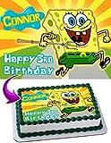 Spongebob Squarepants Edible Cake Topper Personalized Birthday 1/4 Sheet Decoration Custom Sheet Party Birthday Sugar Frosting Transfer Fondant Image ~ Best Quality Edible Image for cake