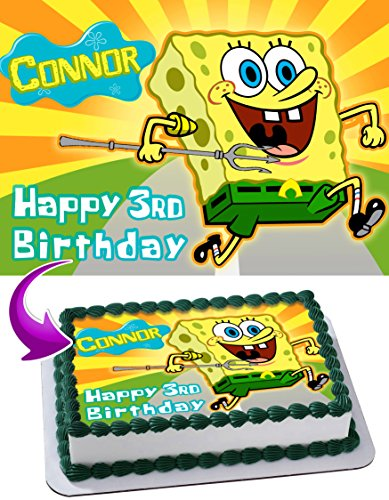 Spongebob Squarepants Edible Cake Topper Personalized Birthday 1/4 Sheet Decoration Custom Sheet Party Birthday Sugar Frosting Transfer Fondant Image ~ Best Quality Edible Image for cake