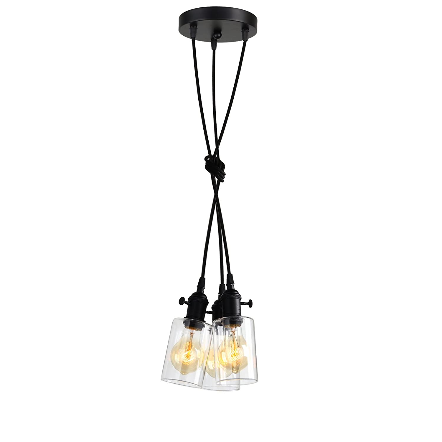 Pathson Industrial Mini Pendant Lighting, 3 Lights Vintage Simple Home Ceiling Light Fixture Flush Mount with Adjustable Textile Cord Pendant Cluster Light