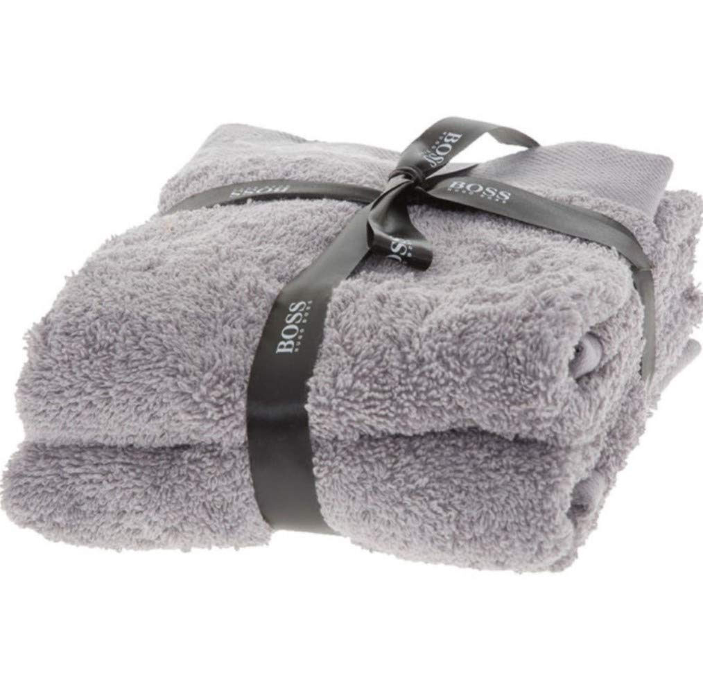 BOSS Hugo Towel Grey 2 Pack Combed Cotton Guest Gym 60 x 40cm Hugo Boss