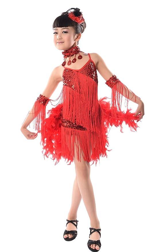 Amazon.com: KINDOYO Vestido Para Niñas de Baile Lentejuelas borla Latino Salsa Sin mangas: Clothing