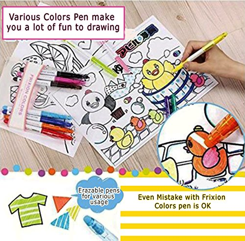 Pilot Frixion Erasable Coloring Pens 12 Pack with Sticky notes– Multi Colored Dry Erase Markers, Comfy Grip, Retractable Clip On Cap, Consistent Gel Formula – For Home, School, Students, Kids, Drawing by Pilot (Image #3)