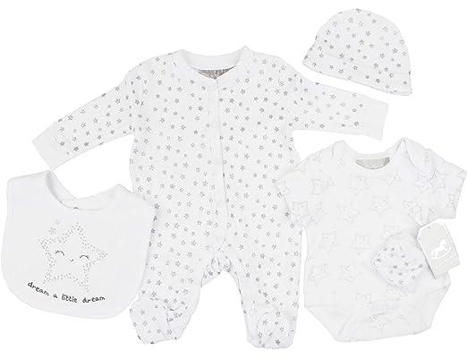 e180f03753744 Unisex Newborn Baby Boys Girls Glitter 'Dream' 5 Piece Layette Clothing Set:  Amazon.co.uk: Clothing