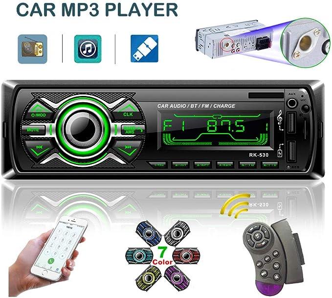 LSLYA 7 Retroiluminaci/ón en Color Coche Stereo Auto Radio Universal para autom/óvil Receptor est/éreo 1 DIN Bluetooth MMC//USB//SD//AUX//FM Control Remoto del Volante del tel/éfono