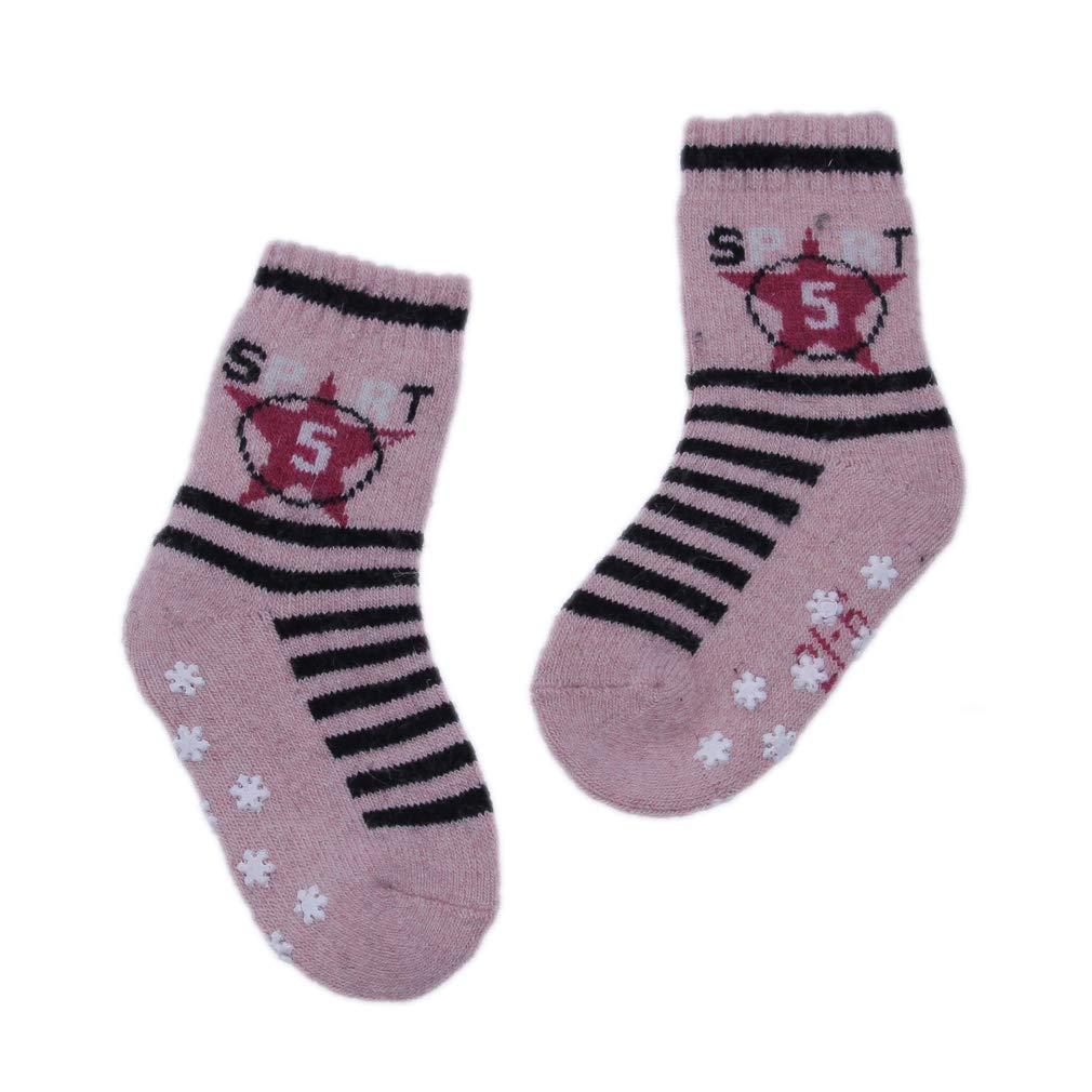 La Vogue Toddler Baby Anti Slip Socks with Grip Assorted Knit Stripe Crew Socks for Little Kids