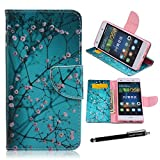 Huawei P8 Lite Case,P8 Lite Wallet Case - Plum Blossom Teal Pattern Premium PU Leather Wallet Case Stand Cover Card Slots for Huawei P8 Lite + CoolGiftCase Stylus