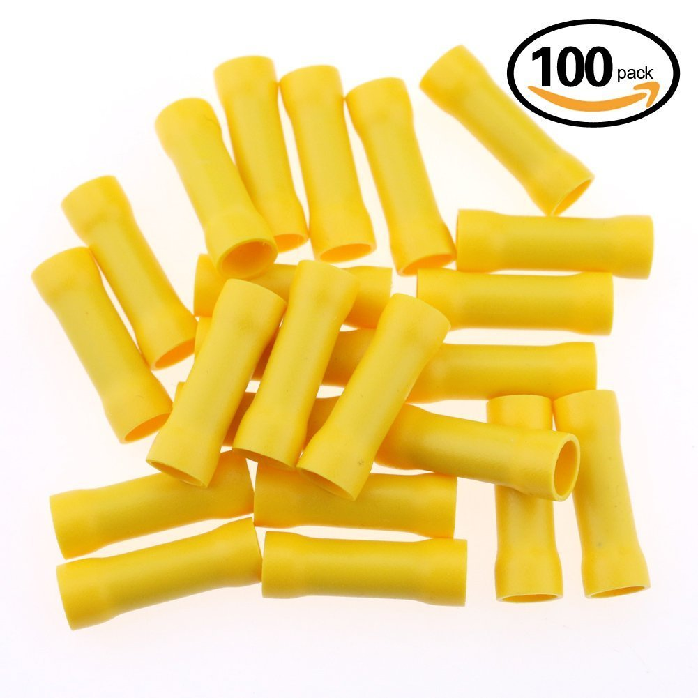 Hilitchi 100pcs 12-10 Gauge Butt Insulated Splice Terminals Electrical Wire Crimp Connectors (Yellow / 12-10AWG)