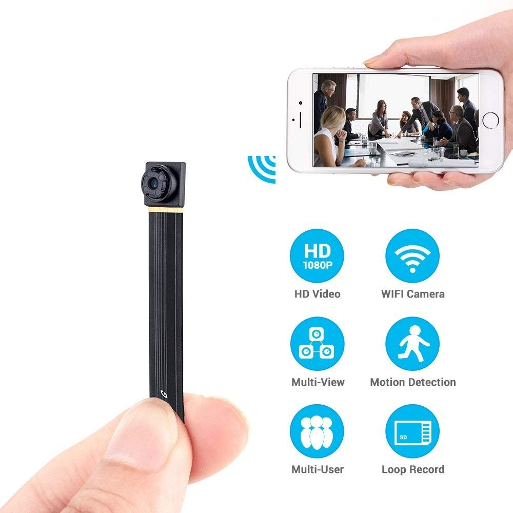 Spy Camera Wireless Hidden Mini WiFi Home Security Nanny Cam 1080P HD Live Stream Video Recorder with Motion Detection Loop Recording Remote View (2019 Upgraded) by WISHCAM