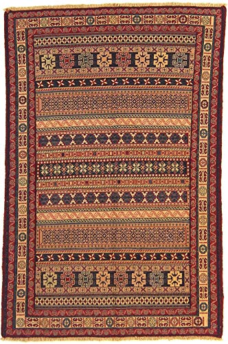- RugInRoll Turkish Hand-Knotted Avshar Rug Pattern, Soumak Design, Wool on Wool, Antique, Handmade Area Rug, (3' 3