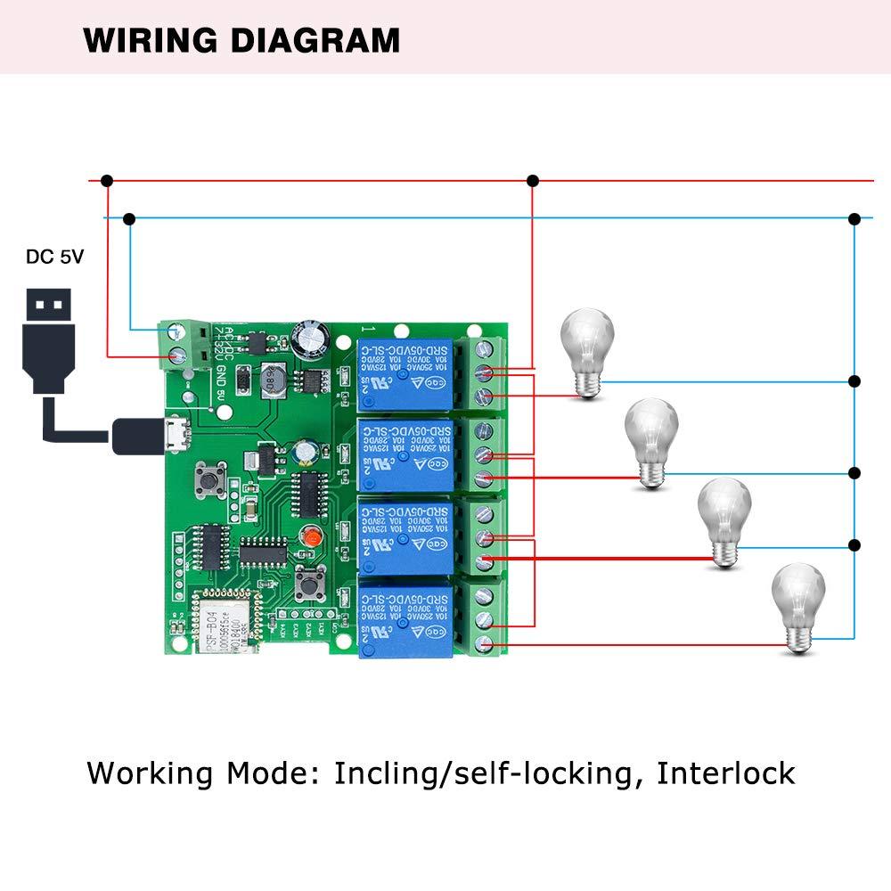 5-32V diymore 4CH Commutateur de 4 canaux Interrupteur sans fil WiFi Intelligent Module avec relais de commutation /à verrouillage automatique pour DIY Smart Home Remote Control pour iOS//Andriod