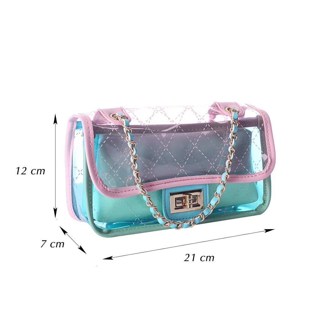 Barabum Clear Jelly Purse PVC Crossbody Handbags for Womens Turn Lock Chain Shoulder Bags