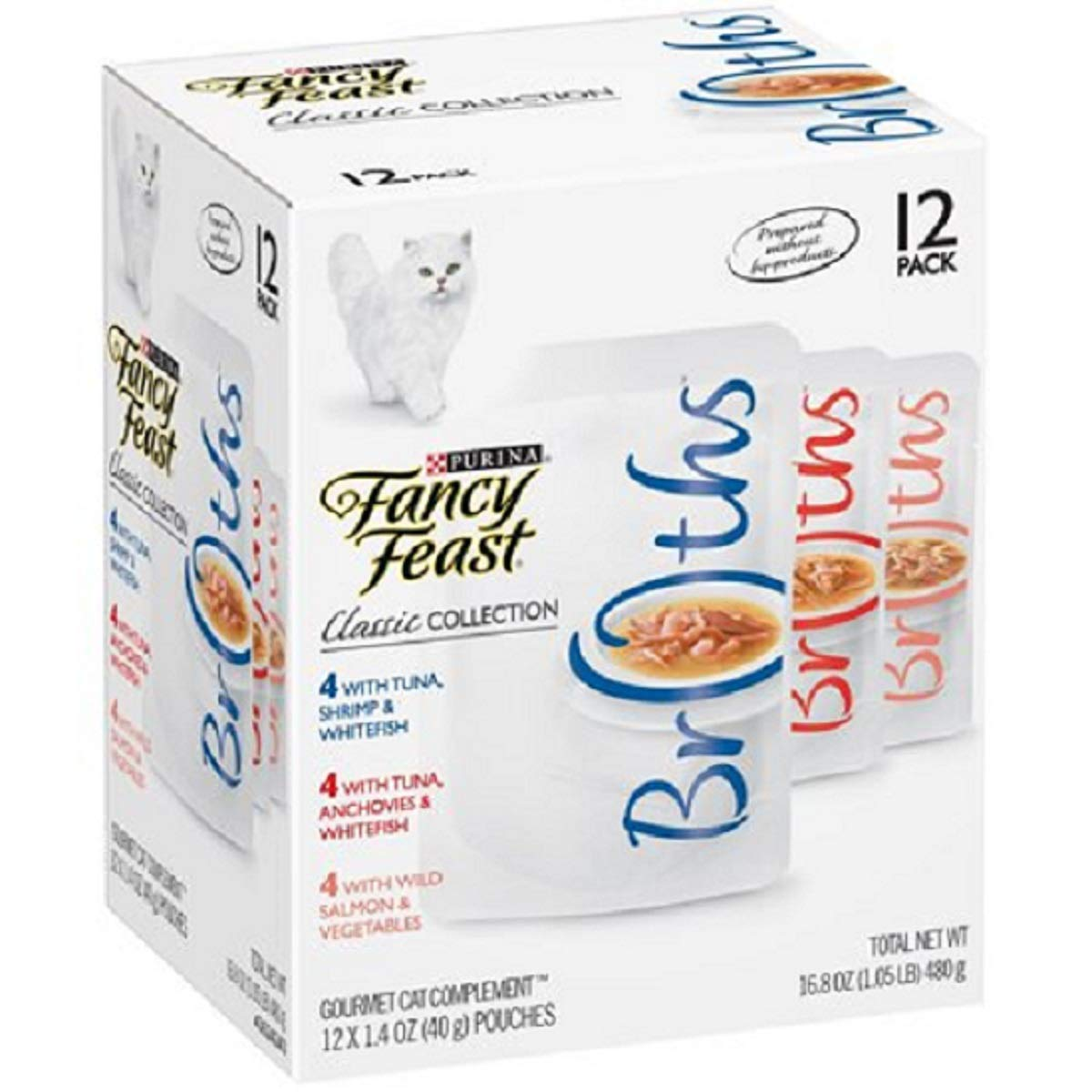 Purina Fancy Feast Broths Adult Wet Cat Food Complement Variety Packs - 12 (1.4 oz. Pouches) (3 Flavor Classic Broth Collection, (12) 1.4 oz. Pouches) by Purina Fancy Feast