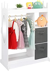 JOYMOR Kids Dress Up Storage with Mirror and Storage Bins, Kids Costume Organizer Center, Open Hanging Armoire Dresser Unit Furniture with Clothes Hook, Shelf and Rod (White)