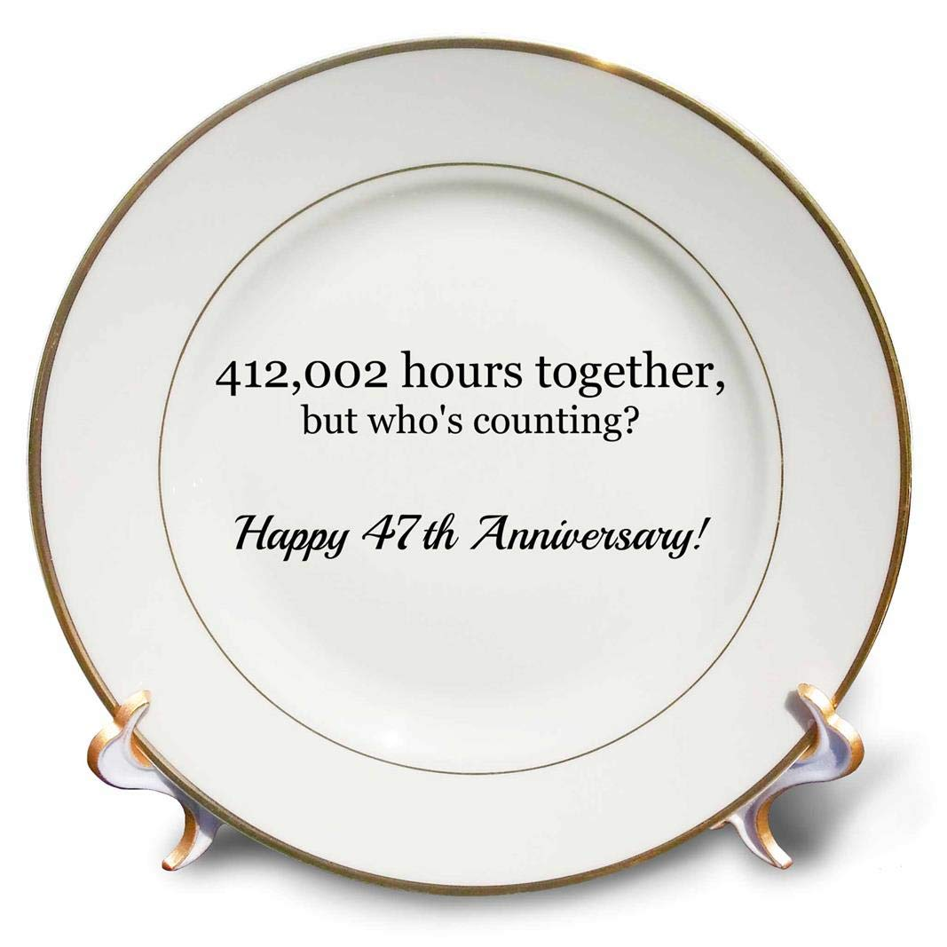 3dRose Happy 47th Anniversary-412002 Hours Together-Porcelain Plate, 8'' (cp_224692_1)