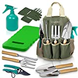 Scuddles - Garden Tools Set - 8 Piece Gardening tools With Storage Organizer, Ergonomic Hand Digging Weeder, Rake, Shovel, Trowel, Sprayer, Gloves Gift for Man & Women (With Gardening Mat)