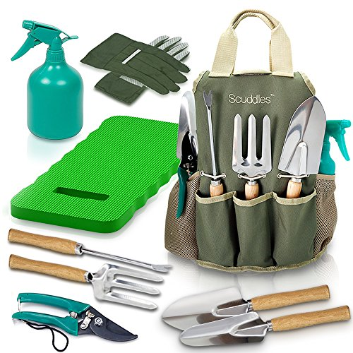 Scuddles - UPGRADED Garden Tool Set Gardening Bag Accessories KIt BONUS | Kneeler Pad | 9 Stainless steel Hand Digging Tools Pruner, Shovel, Fork, Rake, Shears, Weeder, Gloves, Water Sprayer