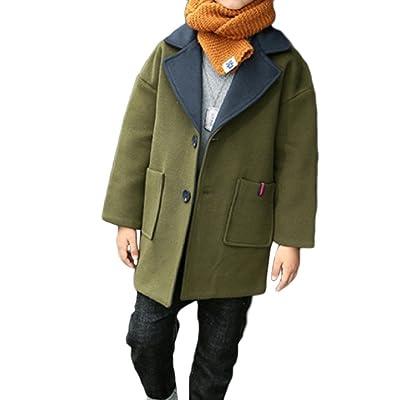 Abetteric Big Boys' Pure Color Snowsuit Dress Coat Thicken Coat
