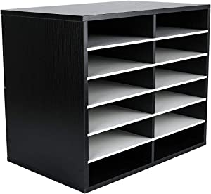 EasyPAG Wood File Sorter Mail Center Magazine Holder Paper Storage Cabinet Classroom Keepers Mailbox for Home & Office,12 Slots