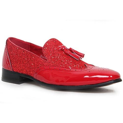 ROSSELLINI Hombre Brillante Charol Brillo Mocasines con borlas, Forro de Piel Zapatos Oxford Zapatos De