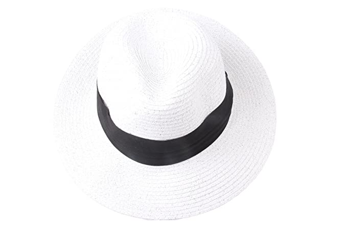 Dantiya Lovers Unisex Panama Straw Beach Hats Cap White at Amazon ... e0540400f44c