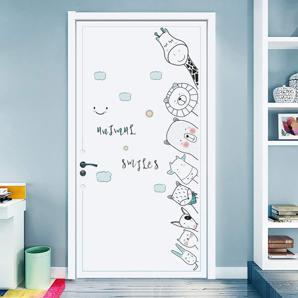 DKTIE Wall Stickers Decals for Kids Room Bedroom Baby Room Wall Decor Sticker Cute Animal Door Sticker