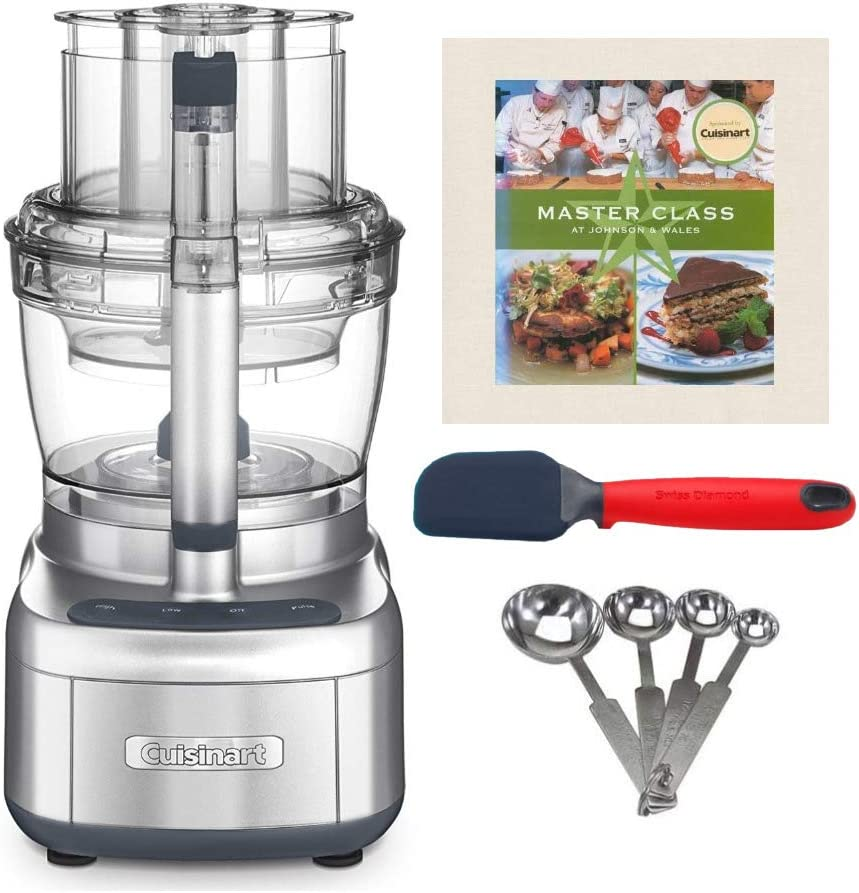 Cuisinart Elemental 13-Cup Food Processor (Silver) with Spatula, Measuring Spoon Set and Cookbook Bundle (4 Items)