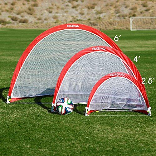 gosports portable pop up soccer goal set of 2 red white. Black Bedroom Furniture Sets. Home Design Ideas