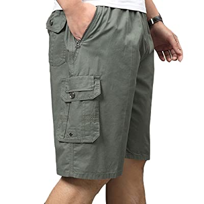 LINGMIN Men's Big & Tall Ranger Cargo Shorts Cotton Elastic Waist Pockets Sports Shots | Amazon.com