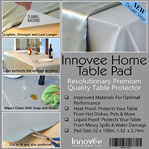 Innovee Revolutionary Table Pad – Protects Table from Spills & Heat – 52 X 108 Inch Premium Table Protector – Flannel Backing – Lies Flat – Cut to Fit Any Size Table - Great For Holidays by Innovee Home (Image #6)